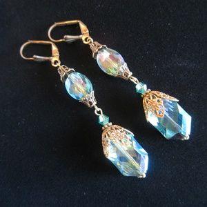 Vintage Downton Abbey Style Crystal Drop Earrings